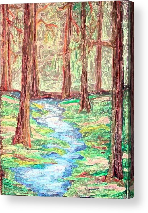 Landscape Acrylic Print featuring the digital art Deep In The Forest by Margie Byrne