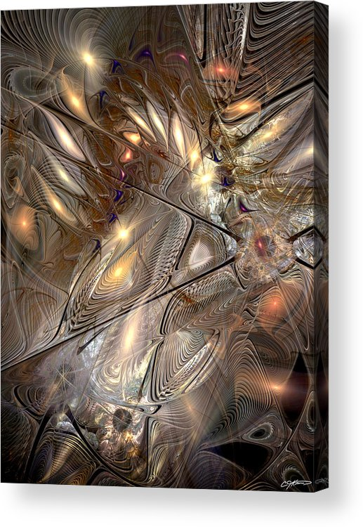 Abstract Acrylic Print featuring the digital art Disorderly Relativistic Interpretations by Casey Kotas
