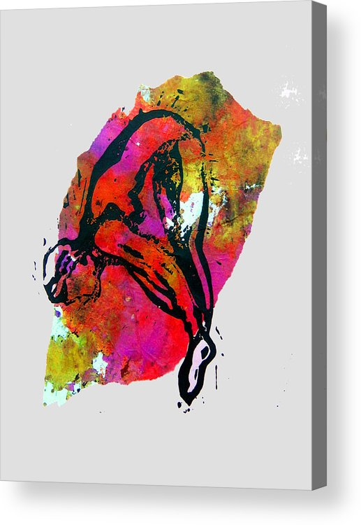 Diver Acrylic Print featuring the mixed media Dive - Warm by Adam Kissel