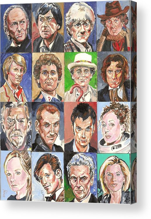 Doctor Who Acrylic Print featuring the painting Doctor Who 1963 To 2017 Revised by Bryan Bustard