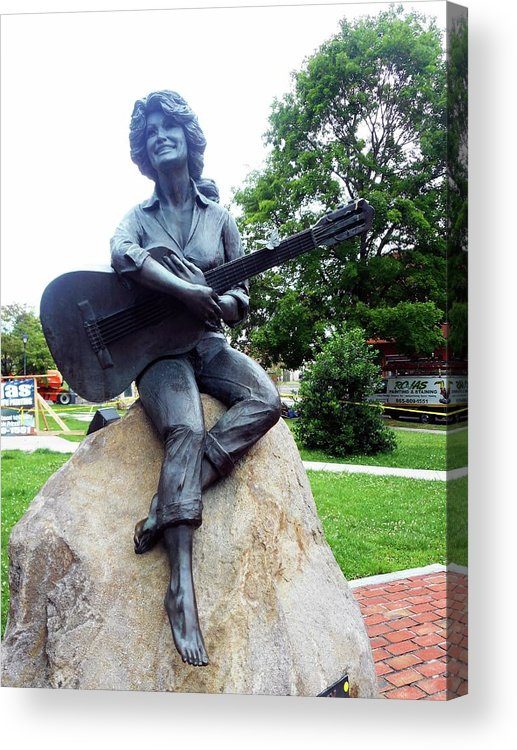 Sevierville Acrylic Print featuring the photograph Dolly Pardon Statue 2 by Ron Kandt