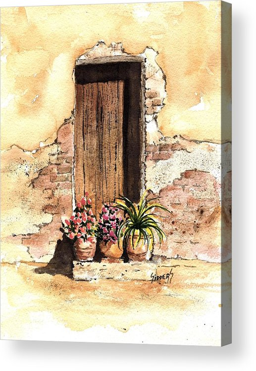 Door Acrylic Print featuring the painting Door With Flowers by Sam Sidders