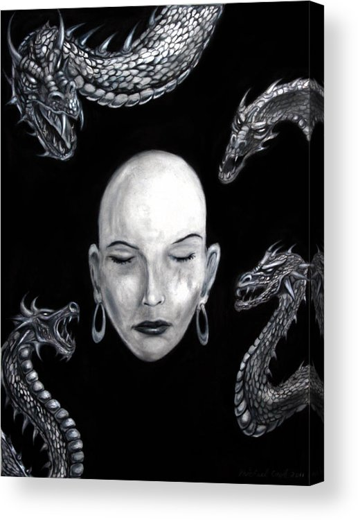Dragons Acrylic Print featuring the drawing Dreams Of Conspiracy by Michael Cook