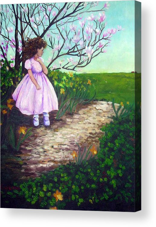 Landscape Child Girl Brunette Party Dress Flowers Impressionist Acrylic Print featuring the painting Easter In Hershey by Hilary England