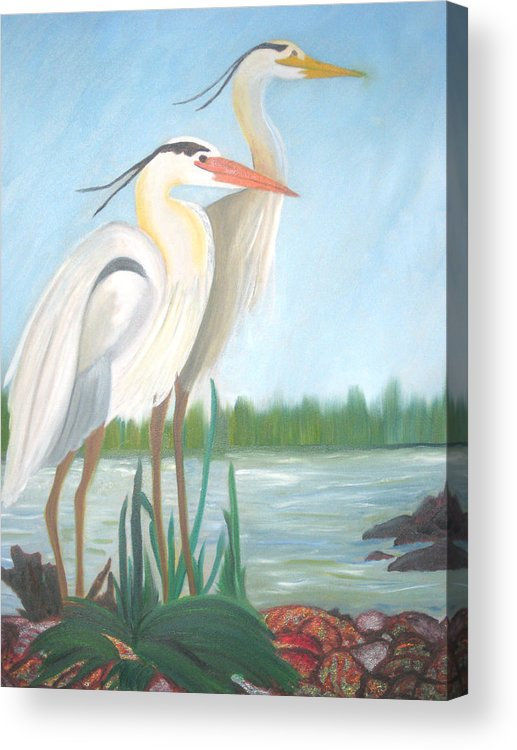 Animals Acrylic Print featuring the painting Egrets by AVK Arts