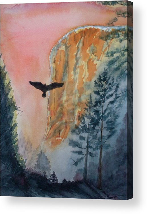 El Capitan Acrylic Print featuring the painting El Capitan Sunset by Warren Thompson