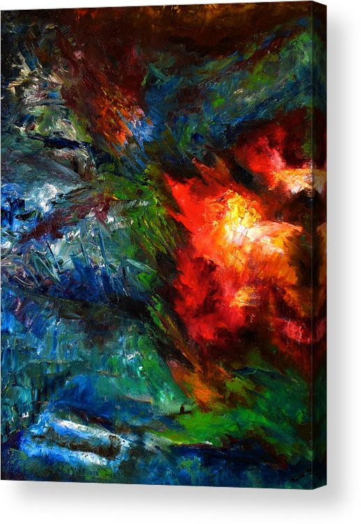 Abstract Acrylic Print featuring the painting Embrace by Lou Ewers