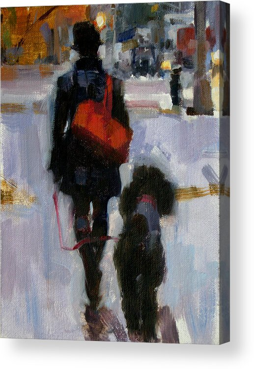 Dogs Acrylic Print featuring the painting Evening Walk by Merle Keller