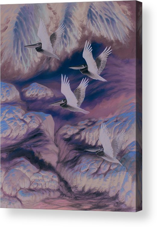 Pelicans Acrylic Print featuring the painting Farallon Friends by Marte Thompson