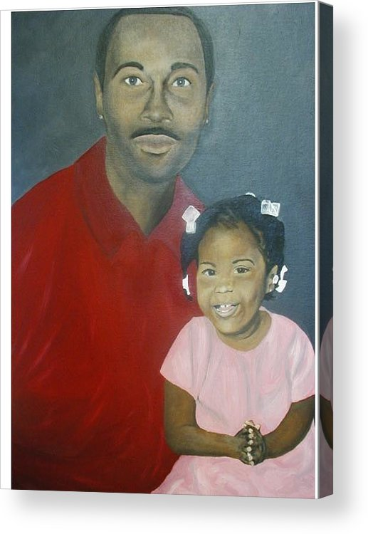 Portrait Acrylic Print featuring the painting Father And Daughter by Angelo Thomas