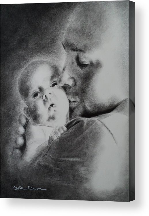 Father Acrylic Print featuring the drawing Father N Son by Carla Carson