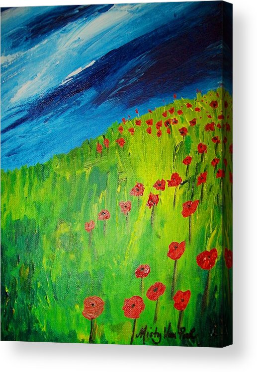 Flowers Acrylic Print featuring the painting field of Poppies 2 by Misty VanPool