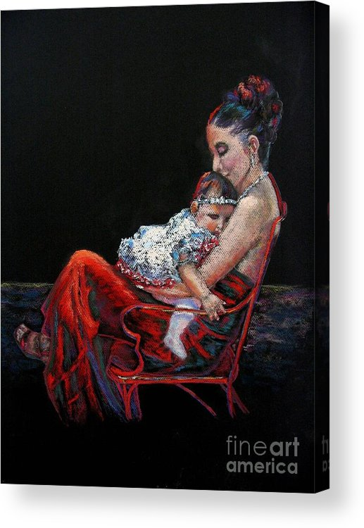 Mother Acrylic Print featuring the painting Fiesta Siesta by Shirley Leswick
