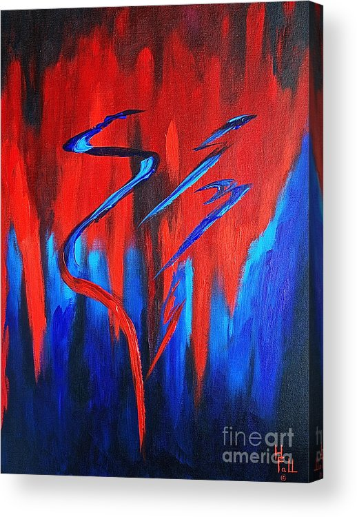 Abstract / Sexy Red And Blue By Herschel Fall Acrylic Print featuring the painting Fire Lake by Herschel Fall
