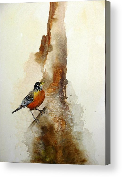 Robin Acrylic Print featuring the painting First Sign Of Spring by Lynne Parker