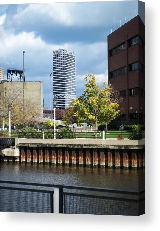 First Star Bank Acrylic Print featuring the photograph First Star Tall View From River by Anita Burgermeister