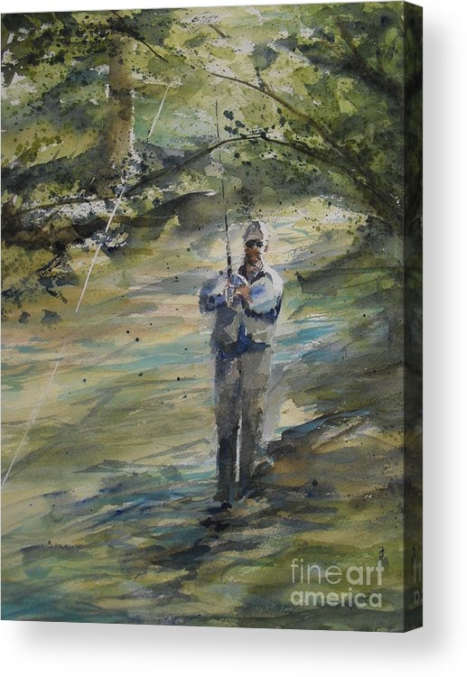 Landscape Acrylic Print featuring the painting Fishing The Sturgeon by Sandra Strohschein