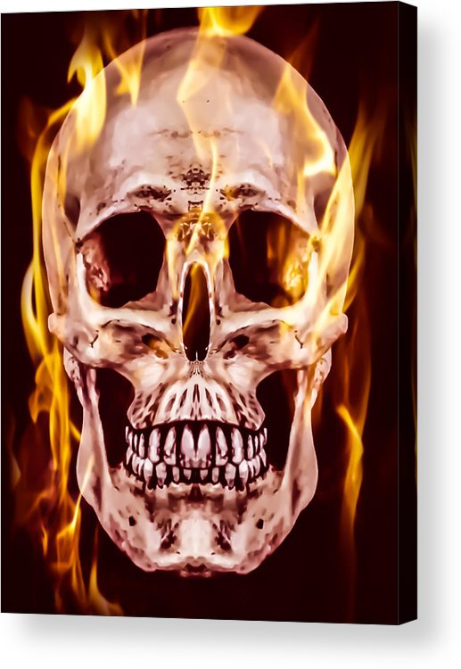 Flaming Skull Acrylic Print featuring the photograph Flaming Skull by Heather Joyce Morrill