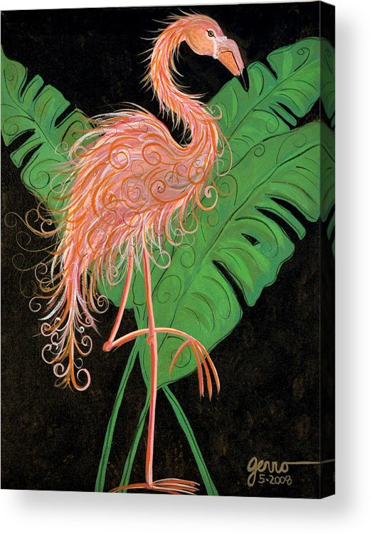 Flamingo Artwork Acrylic Print featuring the painting Flamingo Art Deco by Helen Gerro