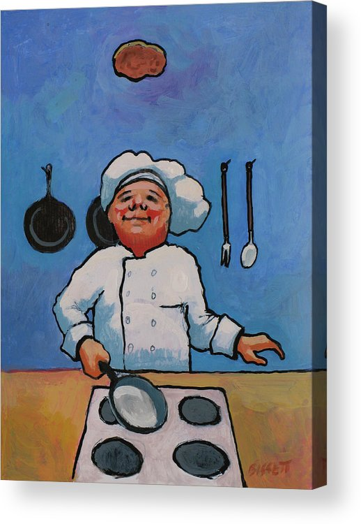 Chef Acrylic Print featuring the painting Flipping Pancakes by Robert Bissett