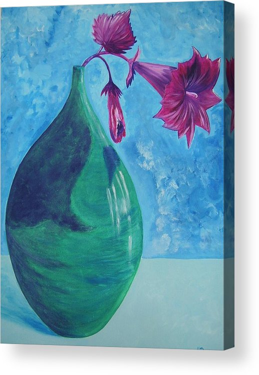 Flower Acrylic Print featuring the painting Flowerpot by Murielle Hebert