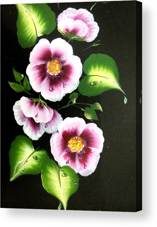 Floral Acrylic Print featuring the painting Flowers 27 by Jennilyn Villamer Vibar
