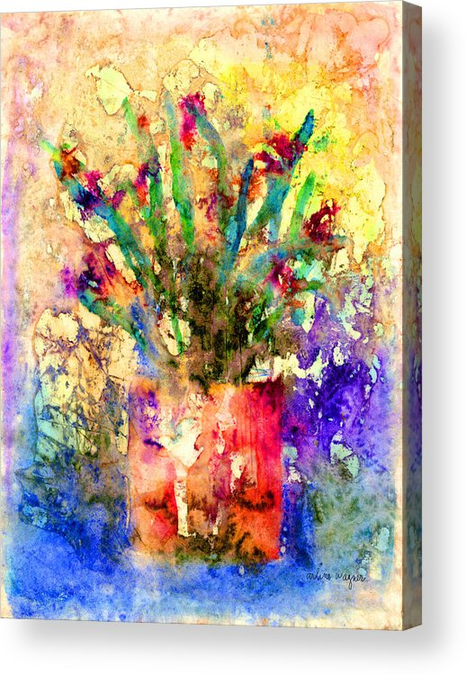 Flower Acrylic Print featuring the mixed media Flowery Illusion by Arline Wagner
