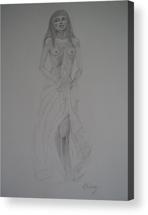 Dody Shape Acrylic Print featuring the drawing Fragile by Murielle Hebert