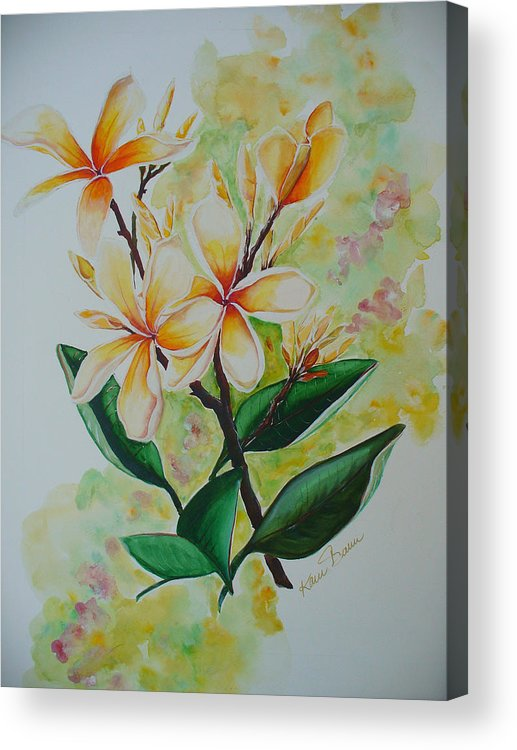 Acrylic Print featuring the painting Frangipangi by Karin Dawn Kelshall- Best