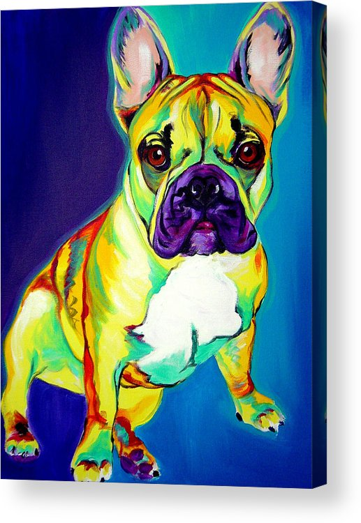 Dog Acrylic Print featuring the painting Frenchie - Tugboat by Alicia VanNoy Call