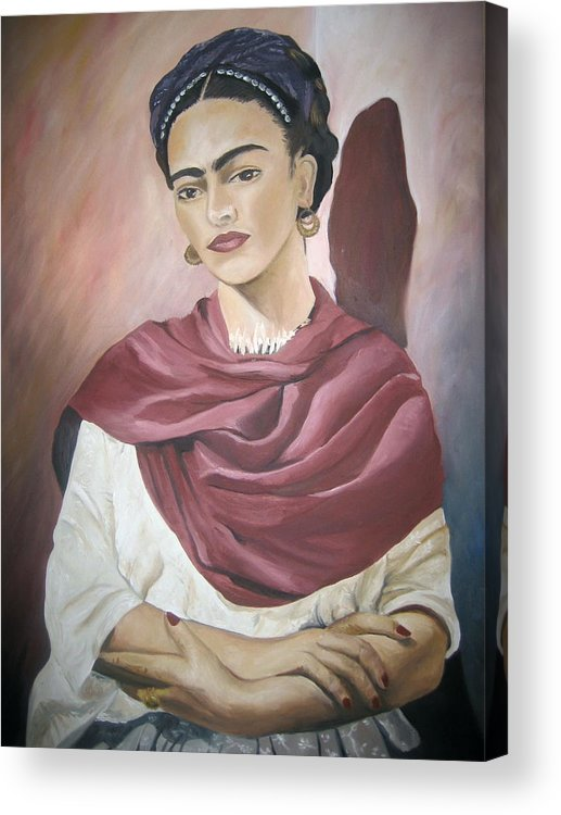 Frida Acrylic Print featuring the painting Frida by Jessica De la Torre