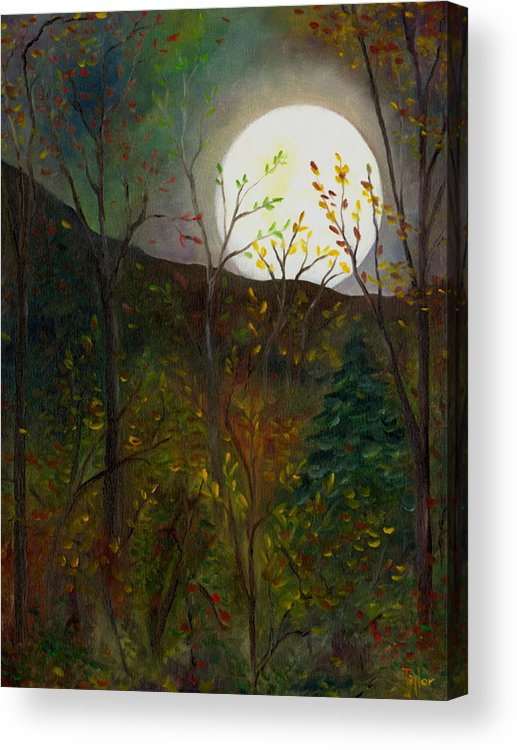 Autumn Acrylic Print featuring the painting Frost Moon by FT McKinstry