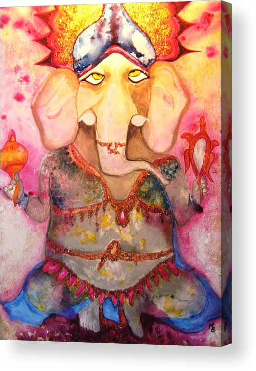 Paintings Acrylic Print featuring the painting Ganesh by Meshal Hardie