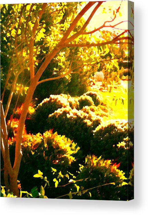 Landscapes Acrylic Print featuring the painting Garden Landscape On A Sunny Day by Amy Vangsgard