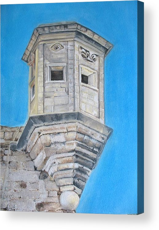 Malta Acrylic Print featuring the painting Gardjola by Lisa Cini