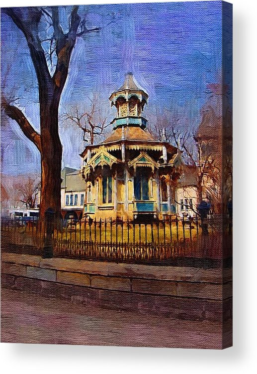 Architecture Acrylic Print featuring the digital art Gazebo And Tree by Anita Burgermeister