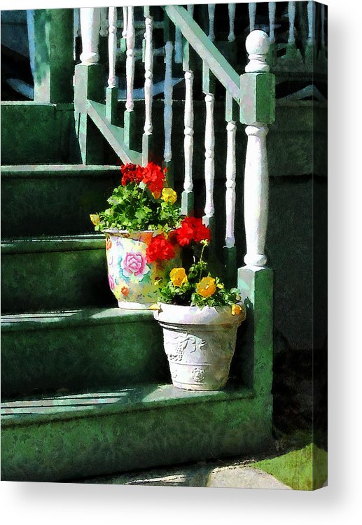 Front Steps Acrylic Print featuring the photograph Geraniums And Pansies On Steps by Susan Savad