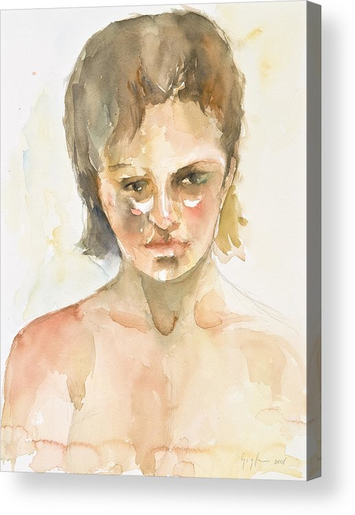 Portrait Acrylic Print featuring the painting Girl by Eugenia Picado
