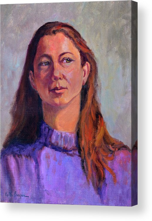 Portrait Acrylic Print featuring the painting Girl In Purple by Keith Burgess