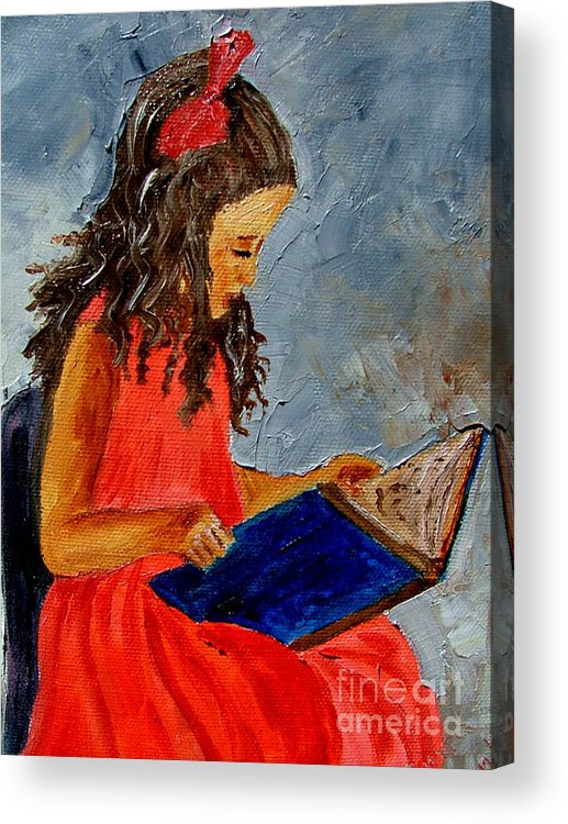Girl Acrylic Print featuring the painting Girl With The Book by Inna Montano