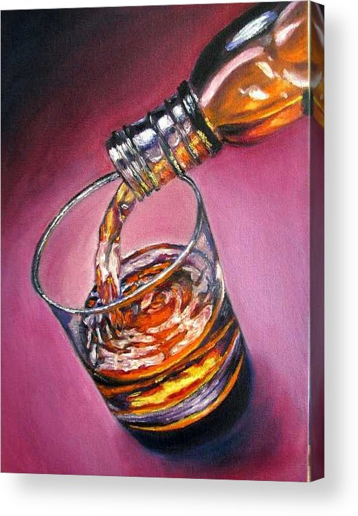 Glass Of Wine Acrylic Print featuring the painting Glass Of Wine Original Oil Painting by Natalja Picugina