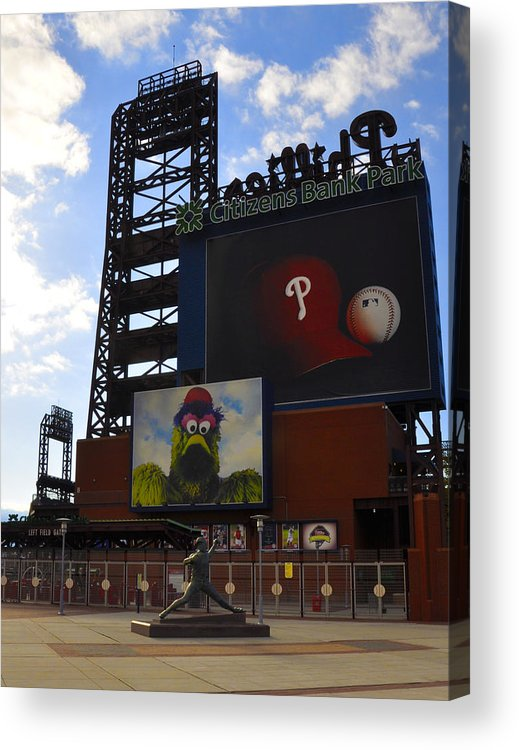 Sports Acrylic Print featuring the photograph Go Phillies - Citizens Bank Park - Left Field Gate by Bill Cannon
