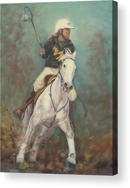 Australian Polocrosse Player On Her Stockhorse Acrylic Print featuring the painting Going For The Goal by Sue Linton