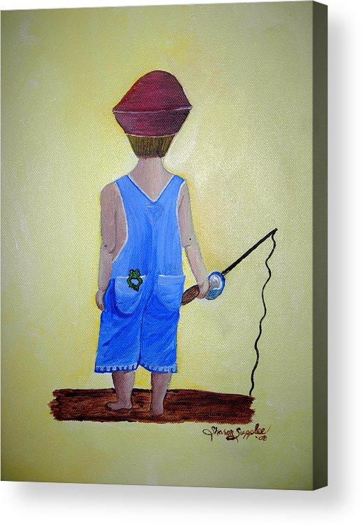 Fishing Acrylic Print featuring the painting Gone Fishing 2 by Sharon Supplee