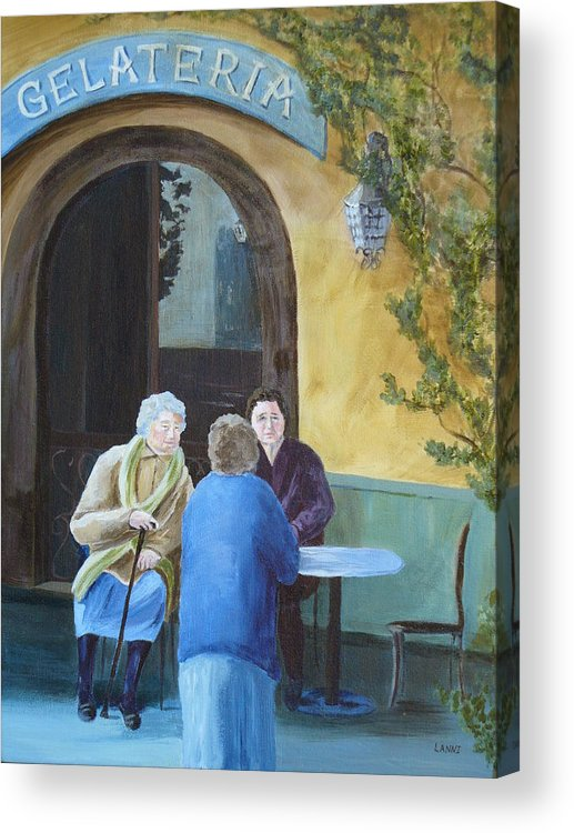 Italy Acrylic Print featuring the painting Gossip Girls by Joe Lanni