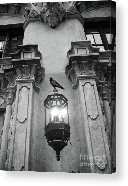 Raven Crow Art Acrylic Print featuring the photograph Gothic Surreal Black White Raven On Lantern Lamp Post by Kathy Fornal