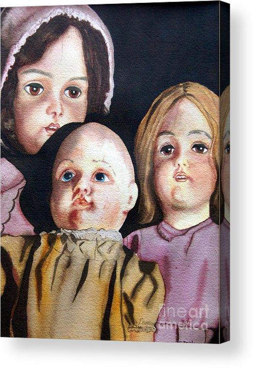 Old Dolls Acrylic Print featuring the painting Grandma's Dolls by Gail Zavala