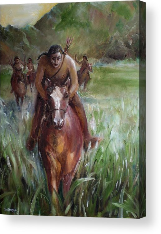 Horse Acrylic Print featuring the painting Great Valley Run by Jun Jamosmos
