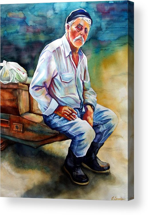Portrait Acrylic Print featuring the painting Greek Fisherman by Gail Zavala