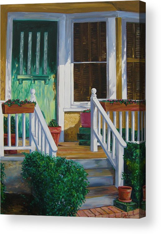 Green Acrylic Print featuring the painting Green Door by Karen Doyle